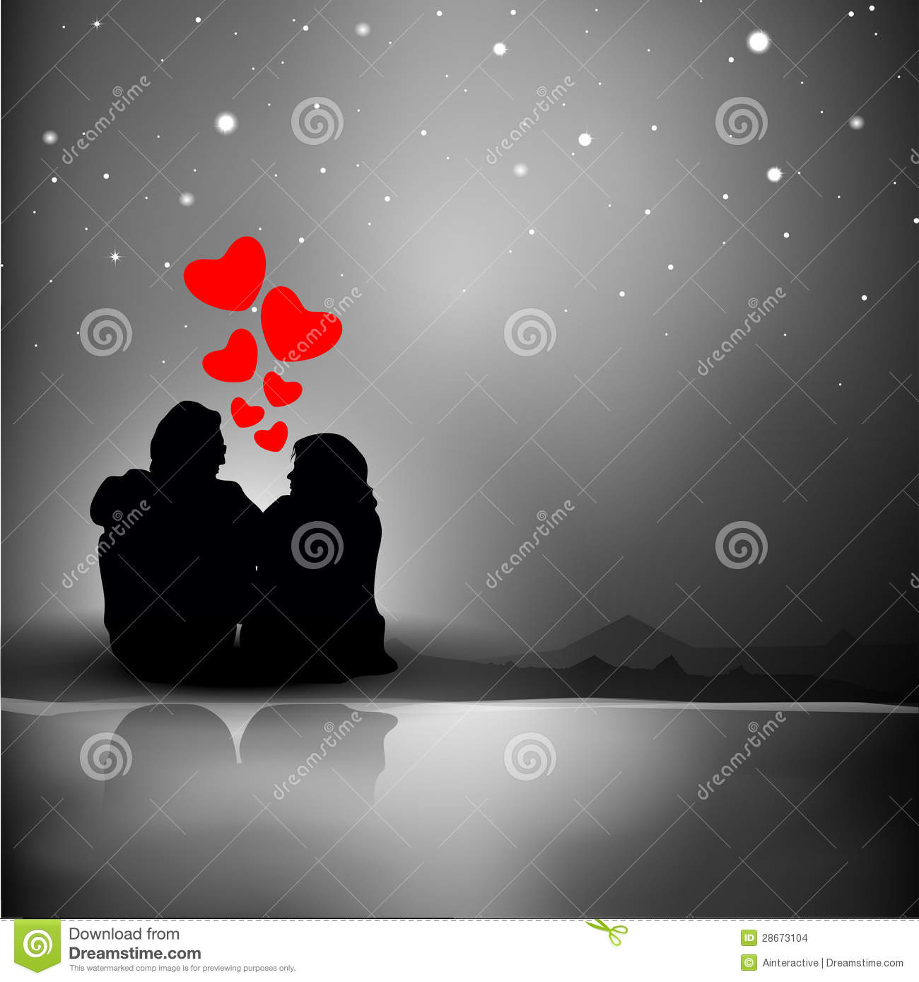 Valentines Day Background With Silhouette Of Couples