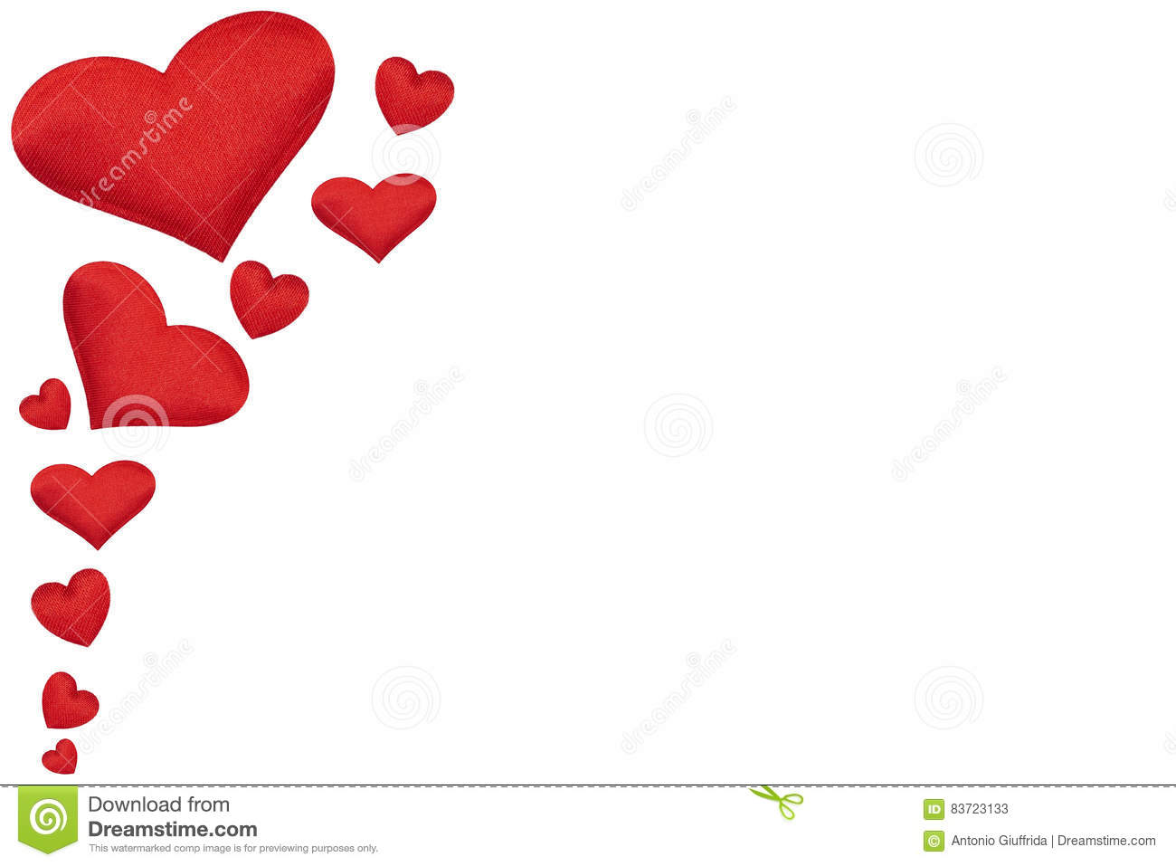 Valentine`s Day Banner, Red Hearts Isolated On White Stock Photo
