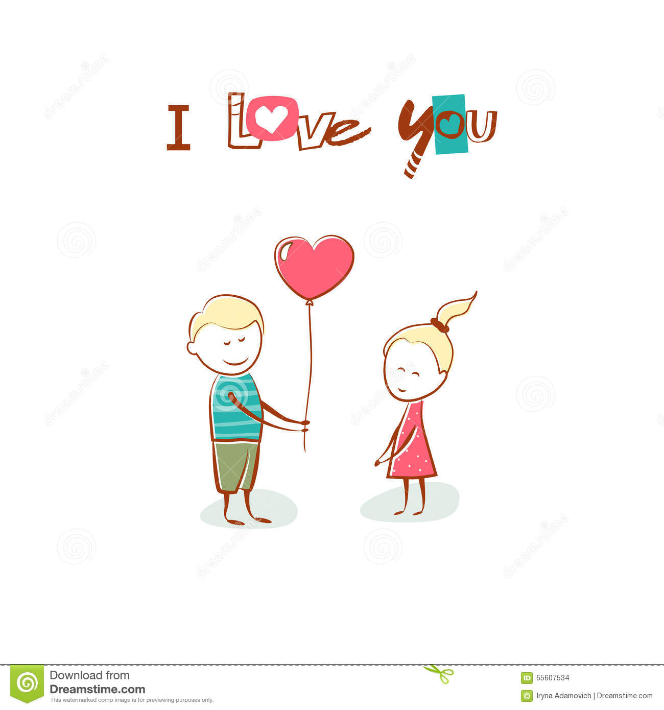 Valentine\'s Day. Boy Gives The Girl A Balloon Heart. Text I Love ...