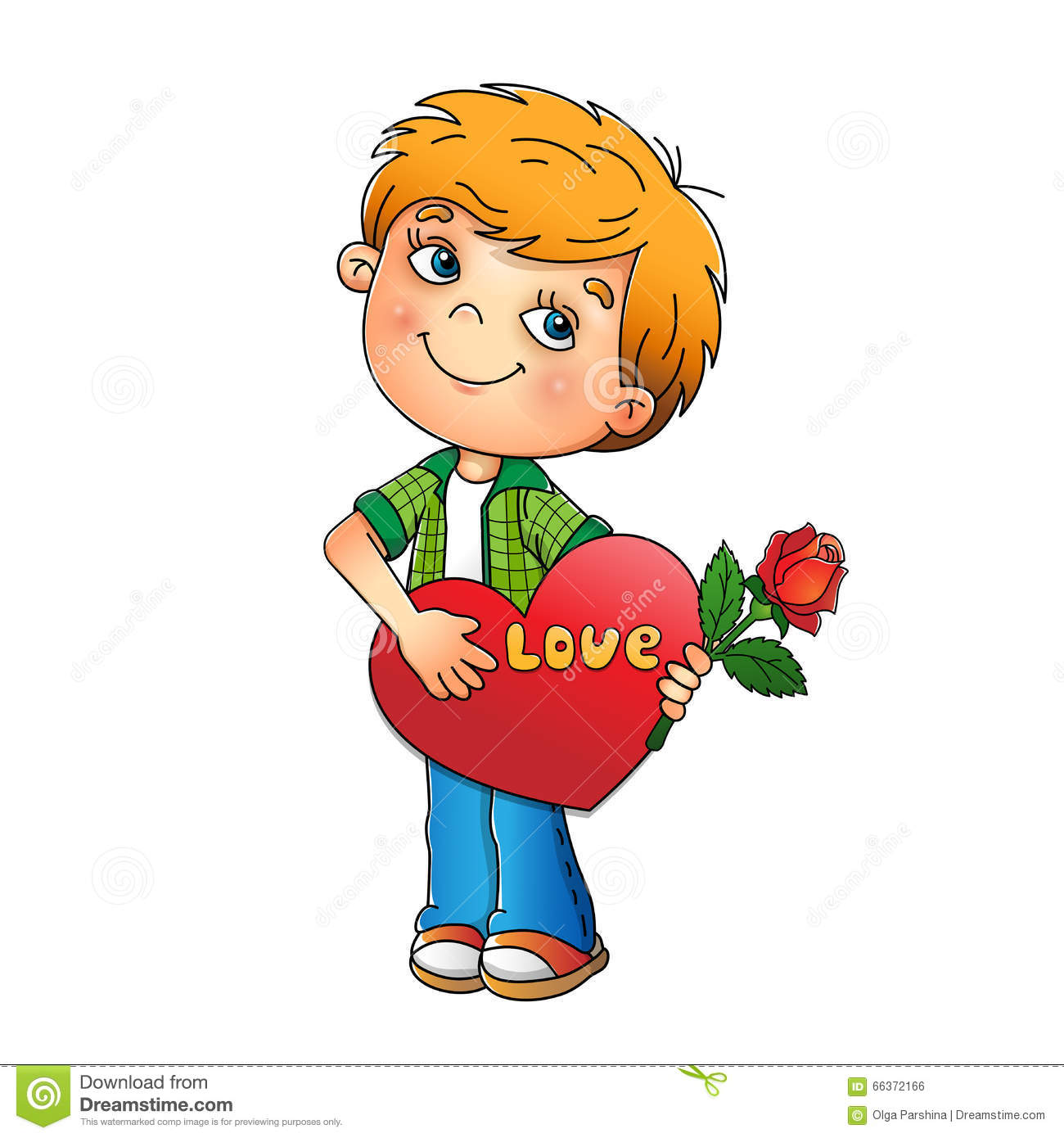 valentine u0027s day boy with rose in hand with heart stock vector
