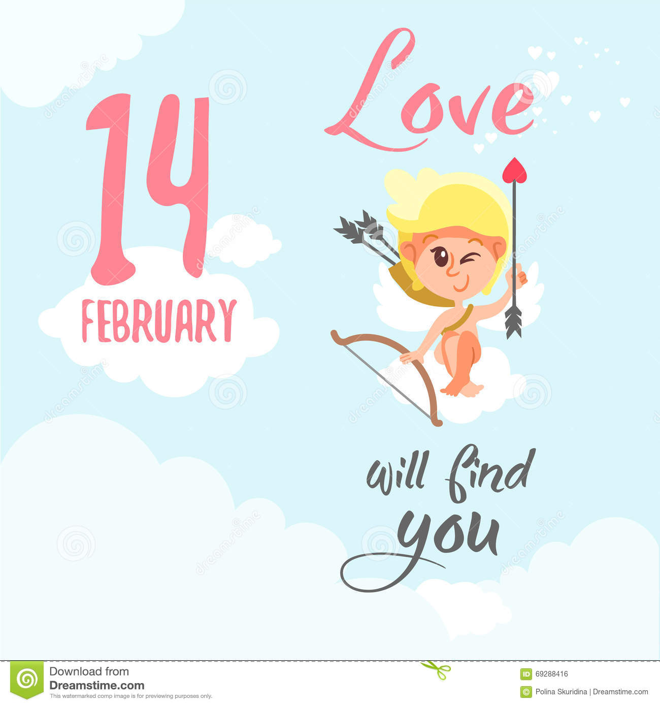 Valentine S Day Card With Funny Cupid Sitting On Cloud With Bow And