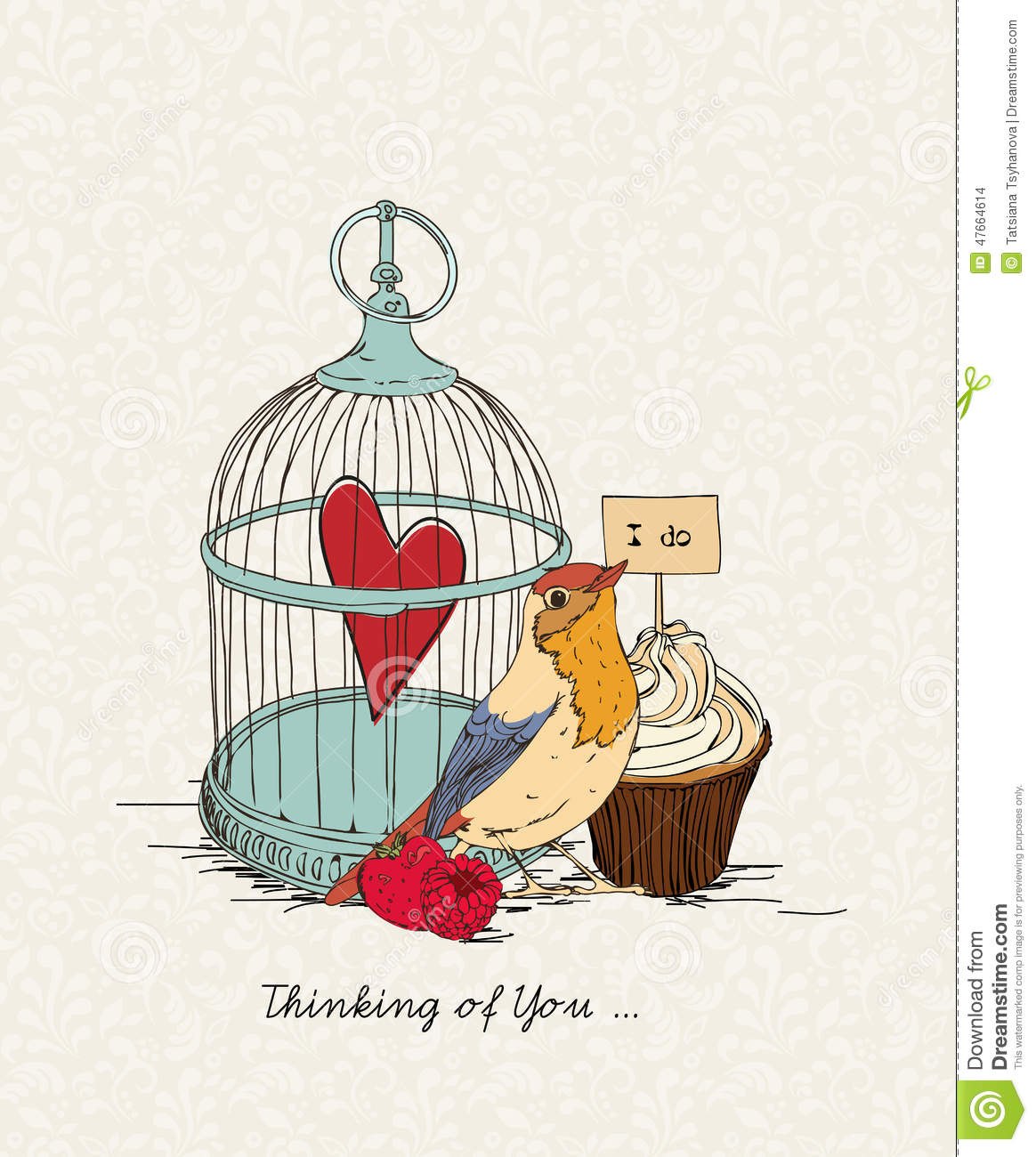 Valentines Day Card With Heart In Cell Bird And Cakes In – Bird Valentine Card