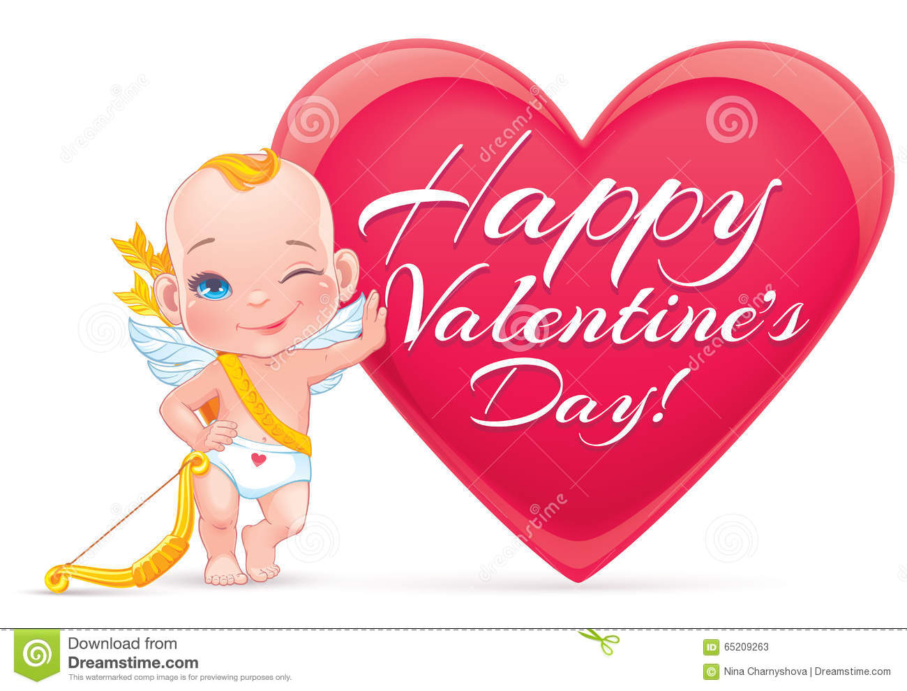Valentine S Day Card With Little Baby Cupid Stock Vector