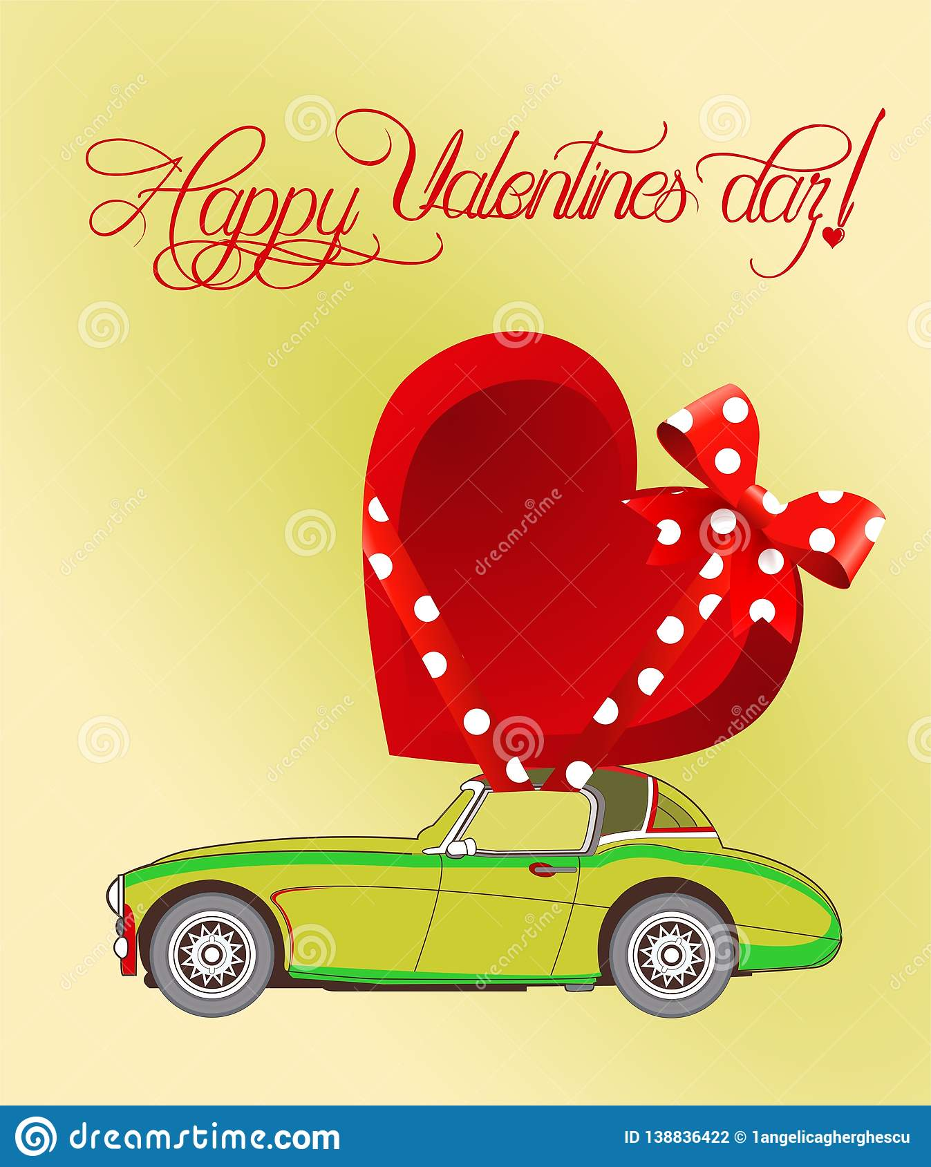 00d979270ca Valentine`s Day Card With Old Car And Gift Heart - Vector. Stock ...