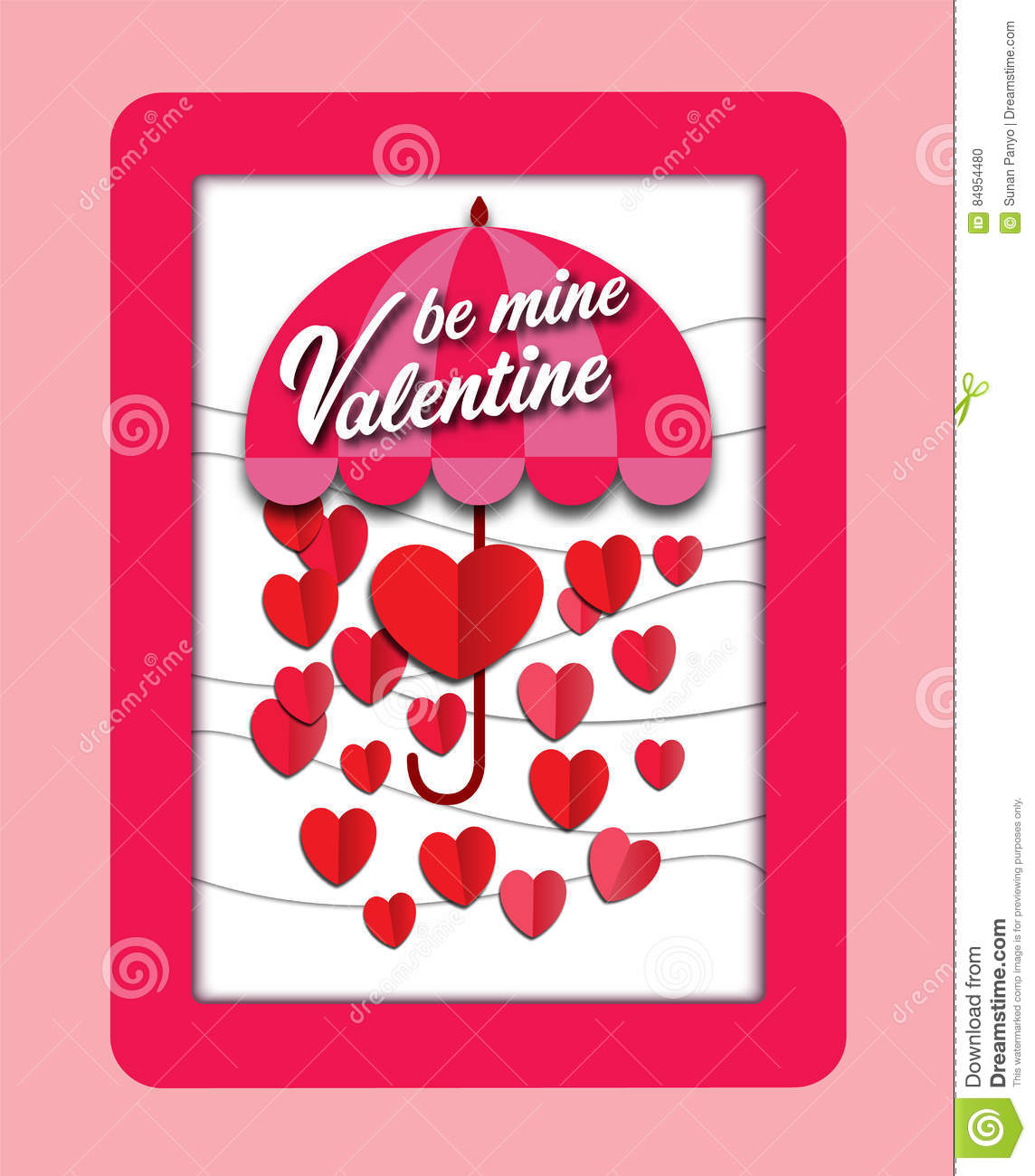 Valentine`s day card paper cut background with pink heart and red rose. Vector illustration