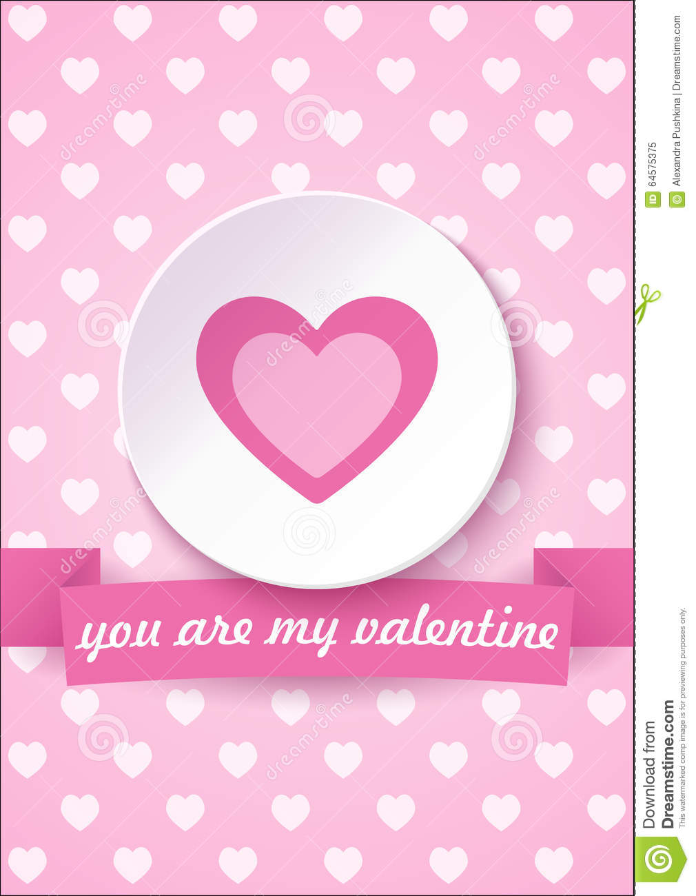 Valentine S Day Card On A Pink Background With You Are My Valentine Text.  Vector Illustration