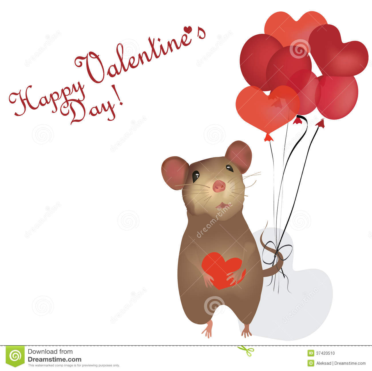 Valentines Day Card St Valentine Day With Mouse And Heart – Saint Valentine Card