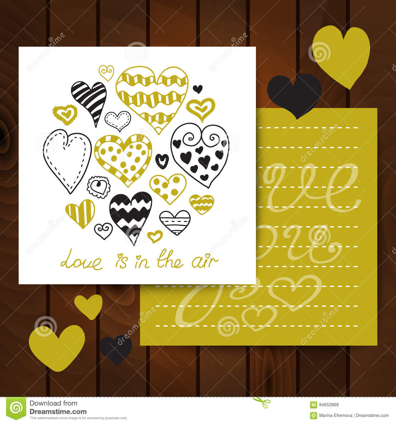 valentine s day card templates with lettering and hearts stock
