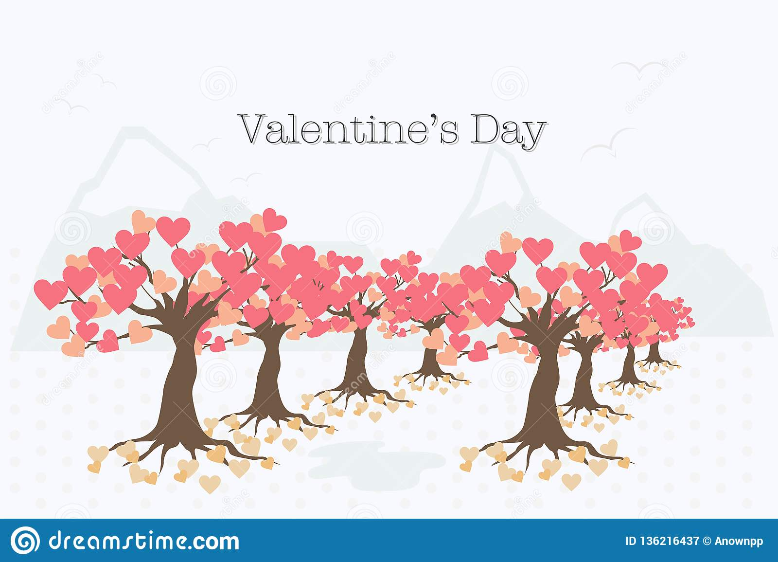 Valentine`s Day card with the tree of love