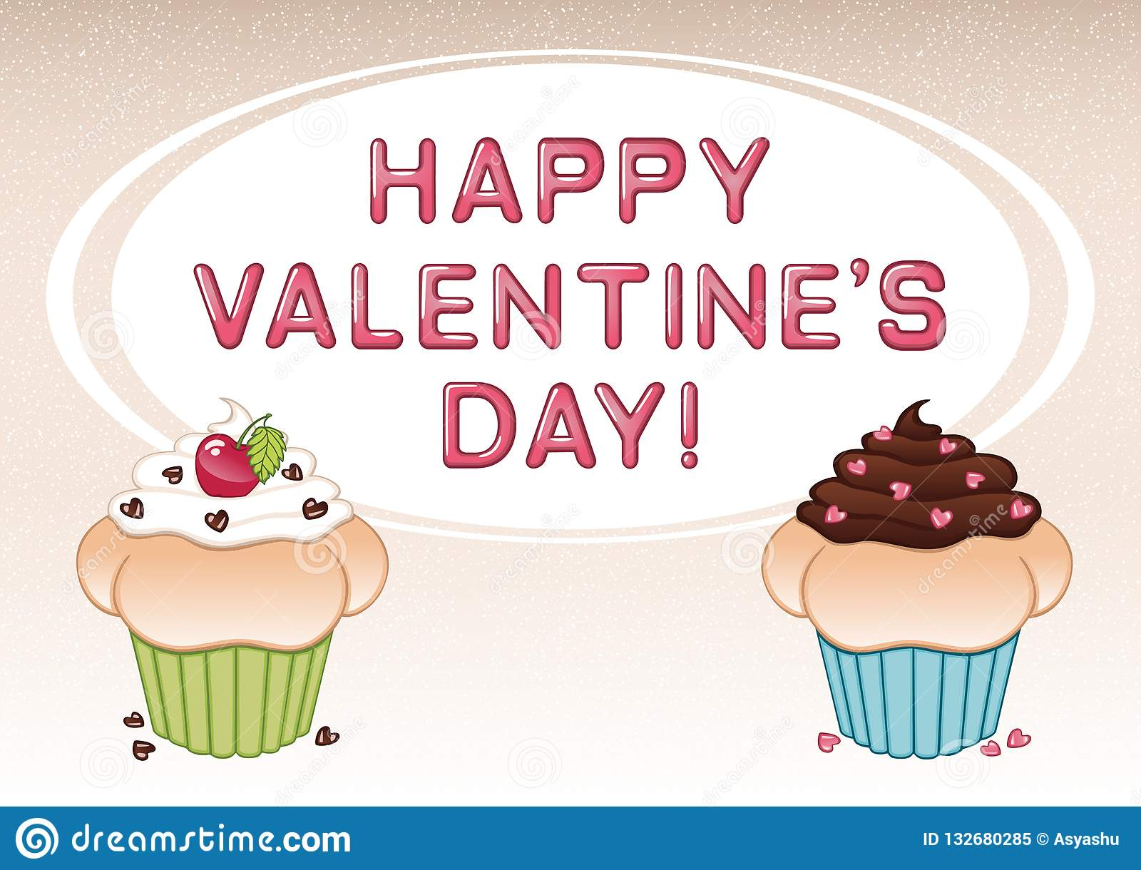 Valentine`s Day Card With Two Cupcakes, Cherry, Heart Shaped