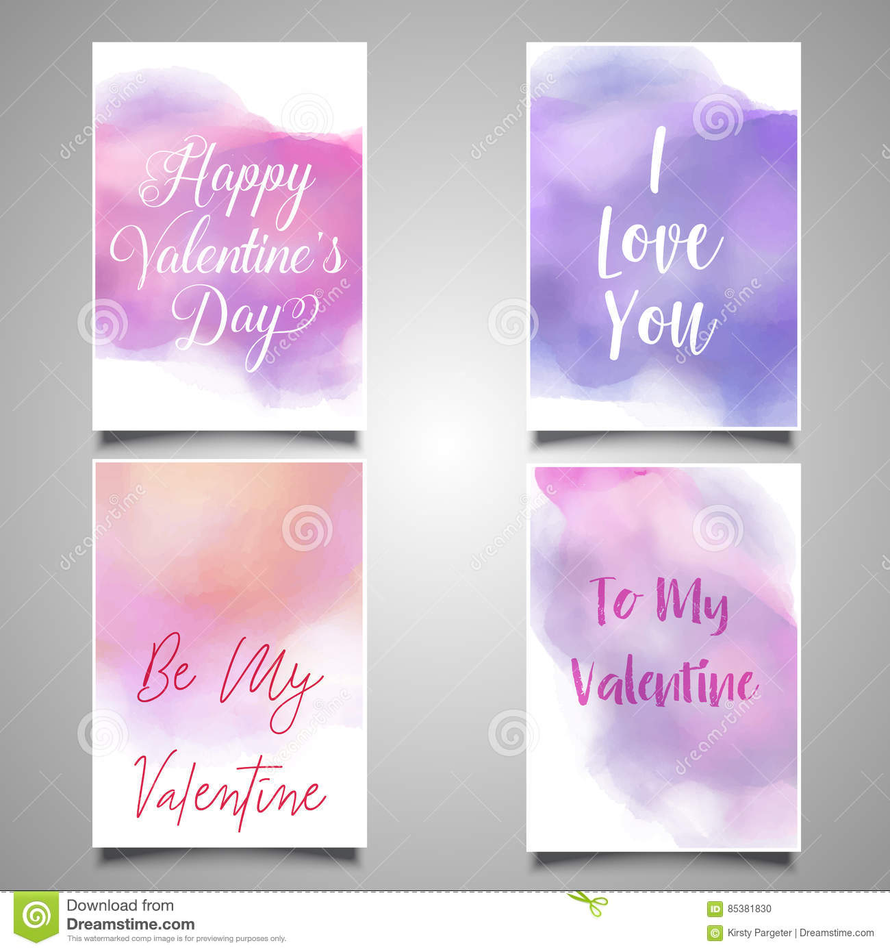 Valentine S Day Cards With Watercolor Designs Stock Vector