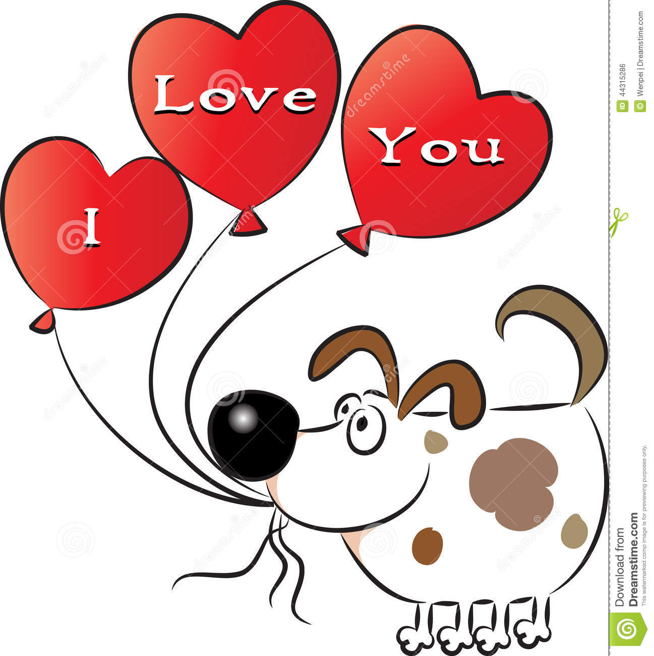 Cartoon Dog Holding A Valentine Picture