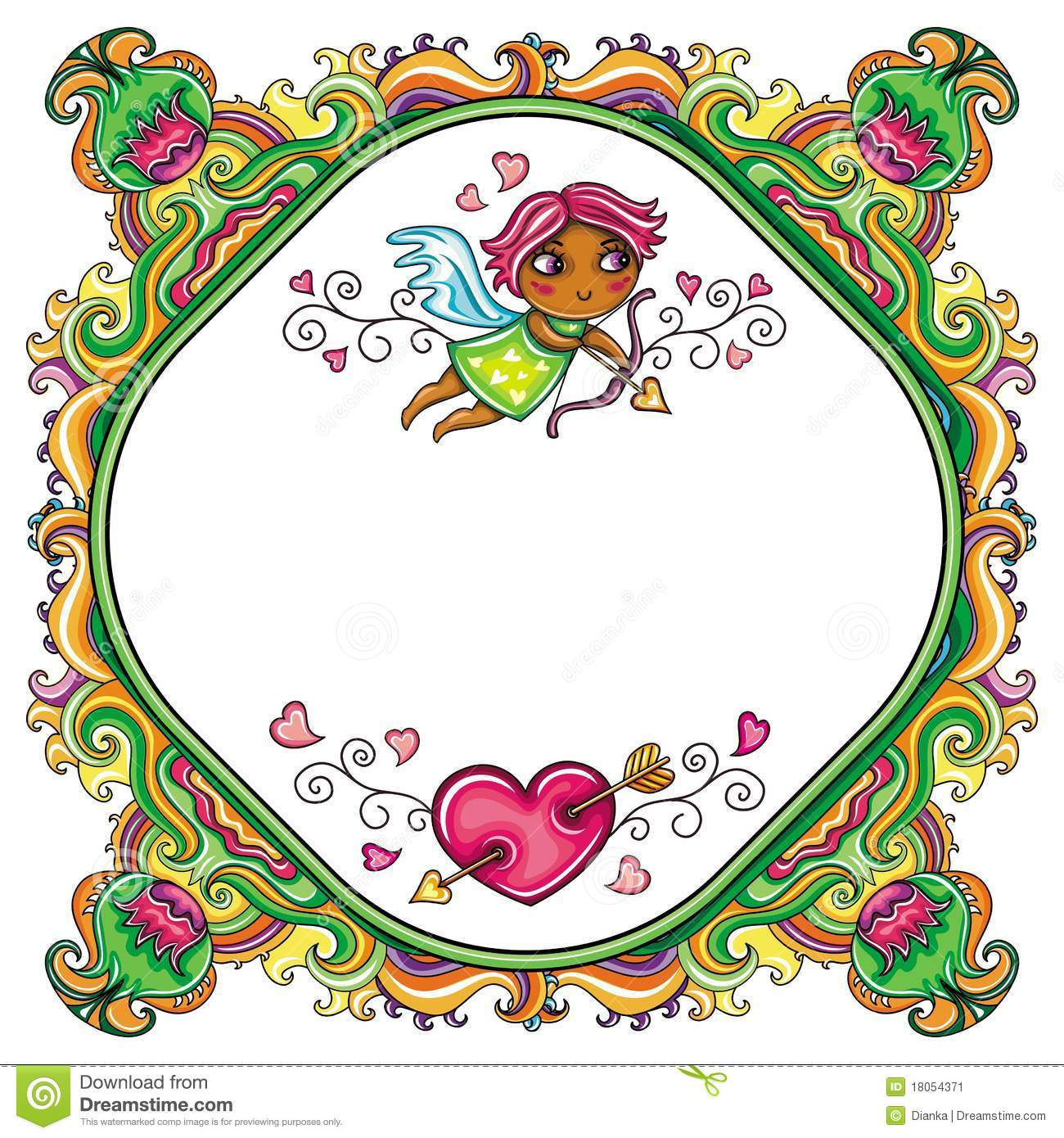 valentine u0027s day cartoon floral farme stock image image 18054451