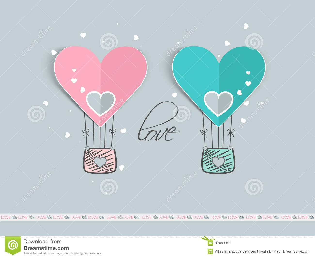 Valentines Day Celebration With Hot Air Balloon. Stock Photo - Image: 47889988