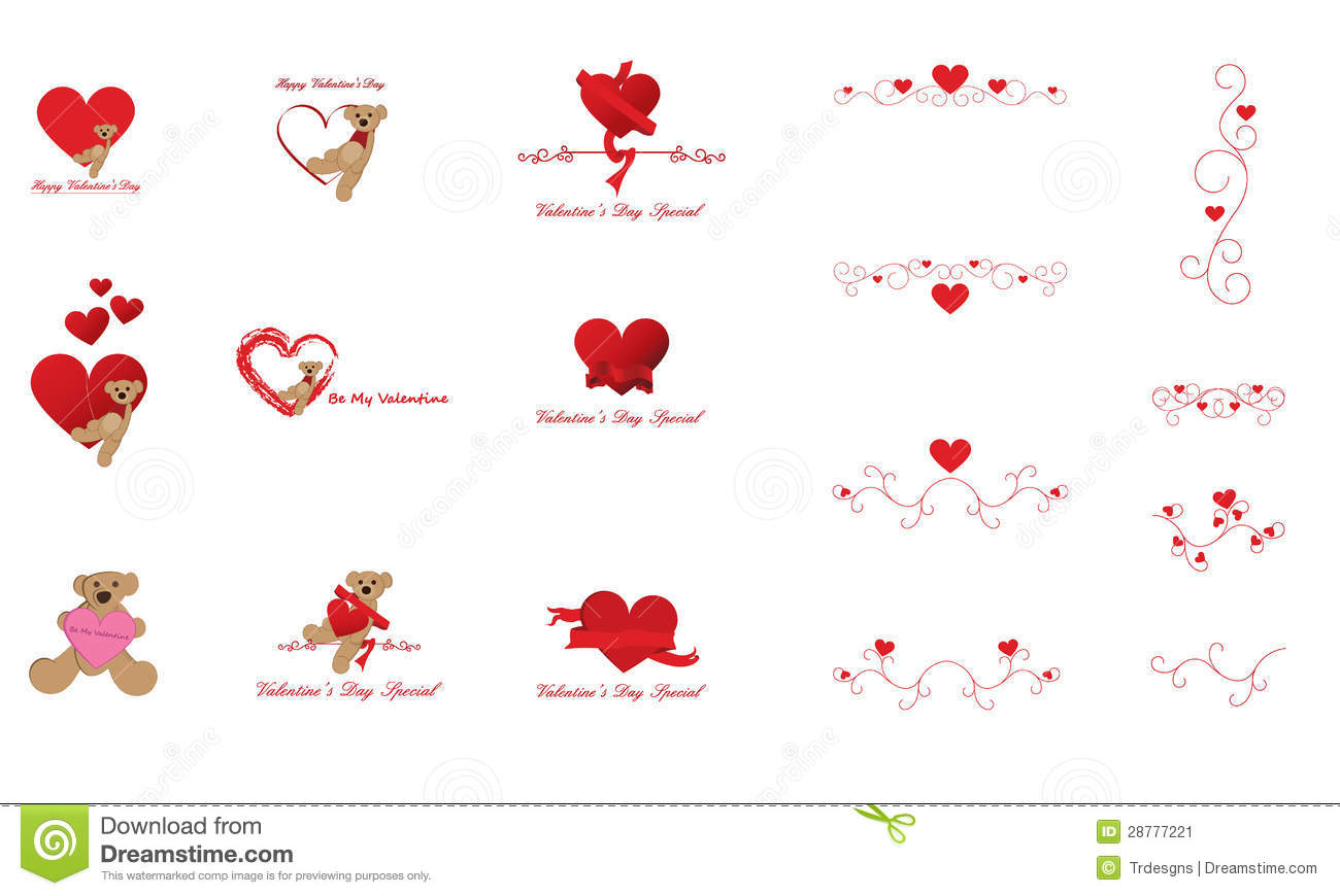 Valentine S Day Clip Art And Design Elements Stock Image Image Of