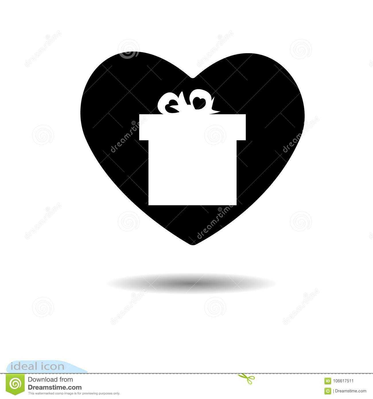 Valentine S Day Concept Illustration With Gift Box And Heart Symbol