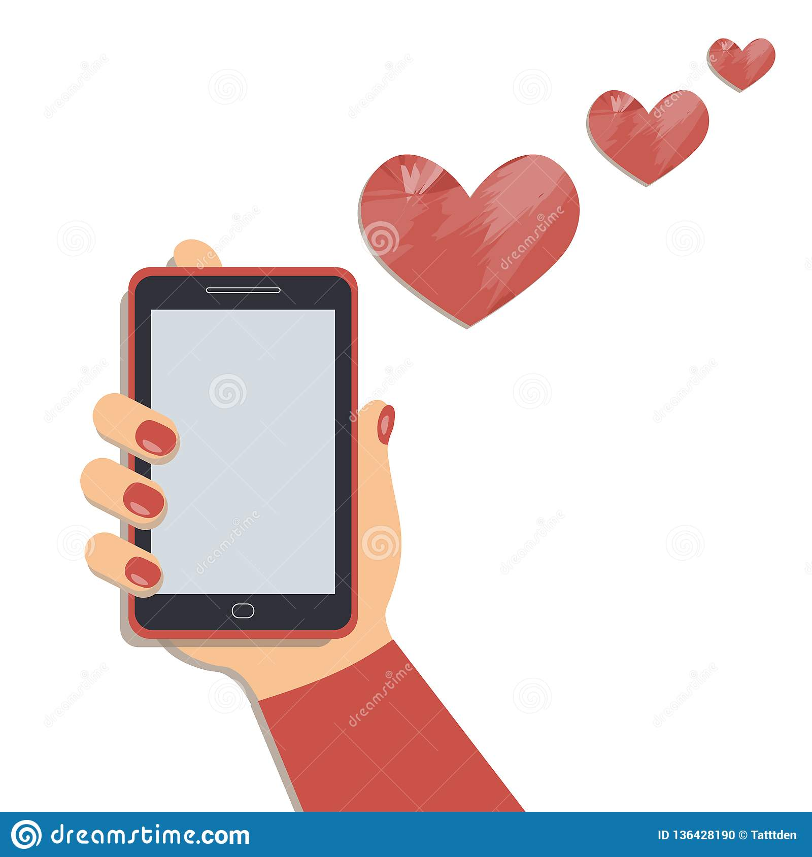Valentine`s day concept: A mobile phone in the cute female`s hand and the artistic hearts fly out of cellphone