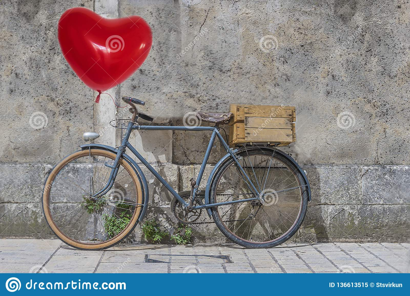 Valentines Day Concept With Red Heart Balloon And Vintage Bike