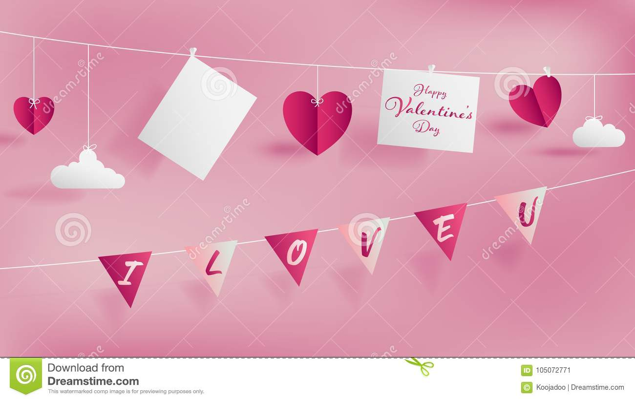 Valentine S Day Of Craft Paper Design Stock Vector Illustration Of