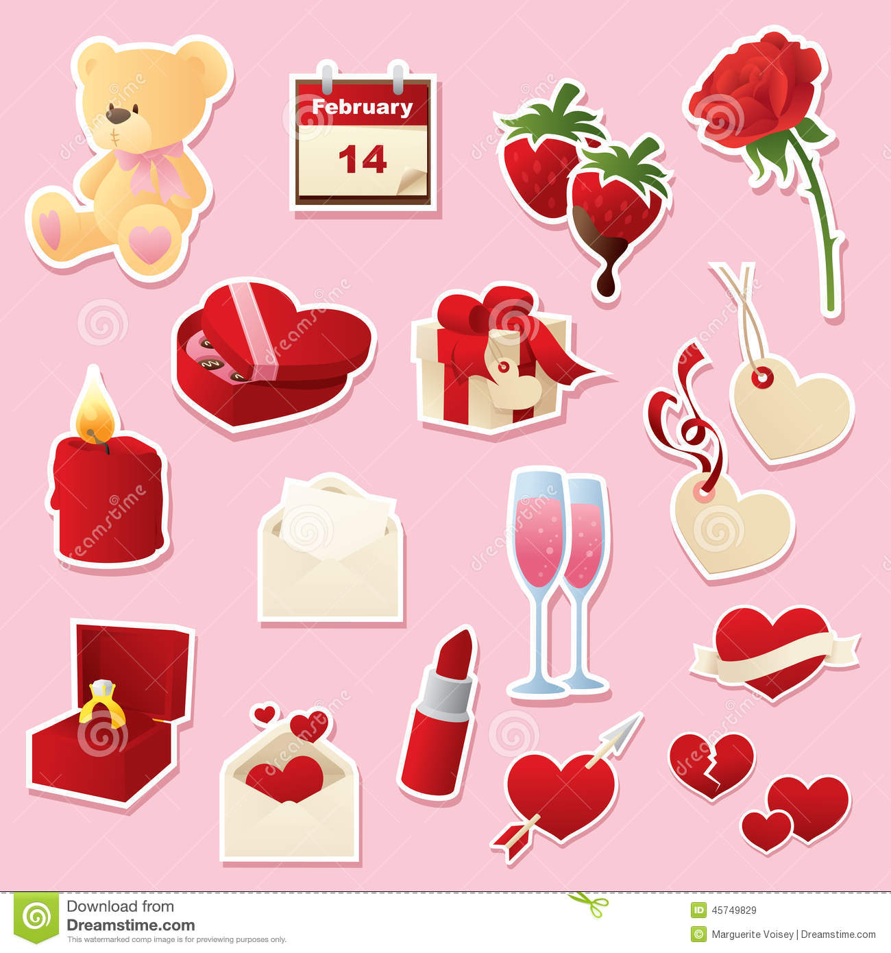 Valentine S Day Cutouts Stock Vector Illustration Of Candle 45749829