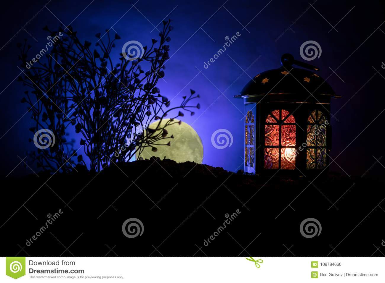 Valentine`s day decor concept. Romantic scene. Big Lantern as lovers house with rising moon on night decor background. Selective f