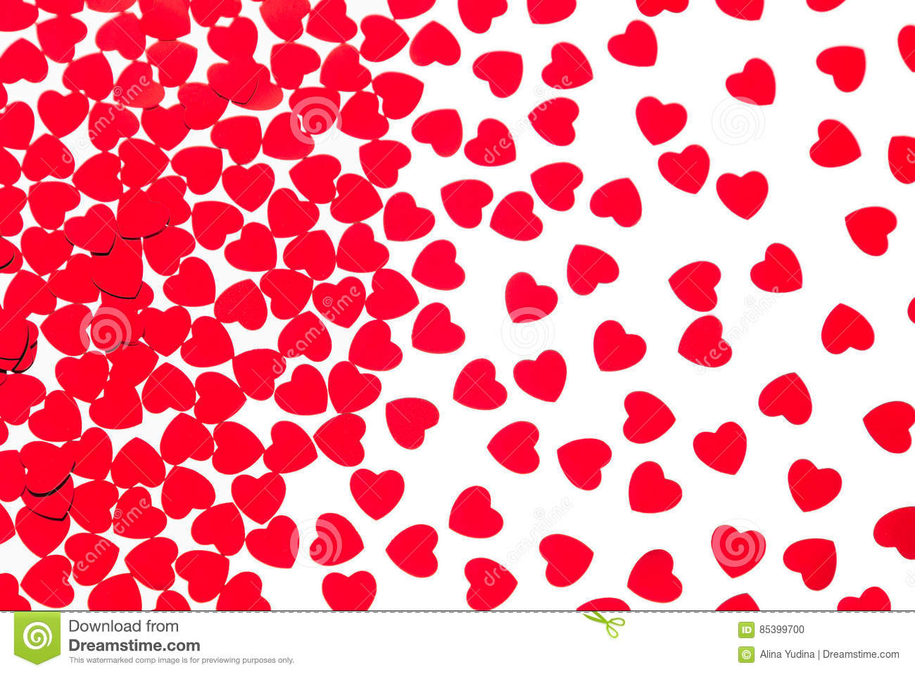 Valentine`s day decorative pattern red hearts confetti isolated on white background.