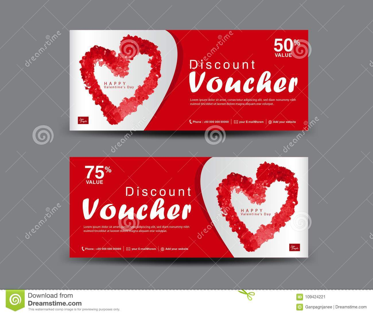 Valentines Day Discount Voucher Gift Voucher Template Layout - Romantic gift certificate template