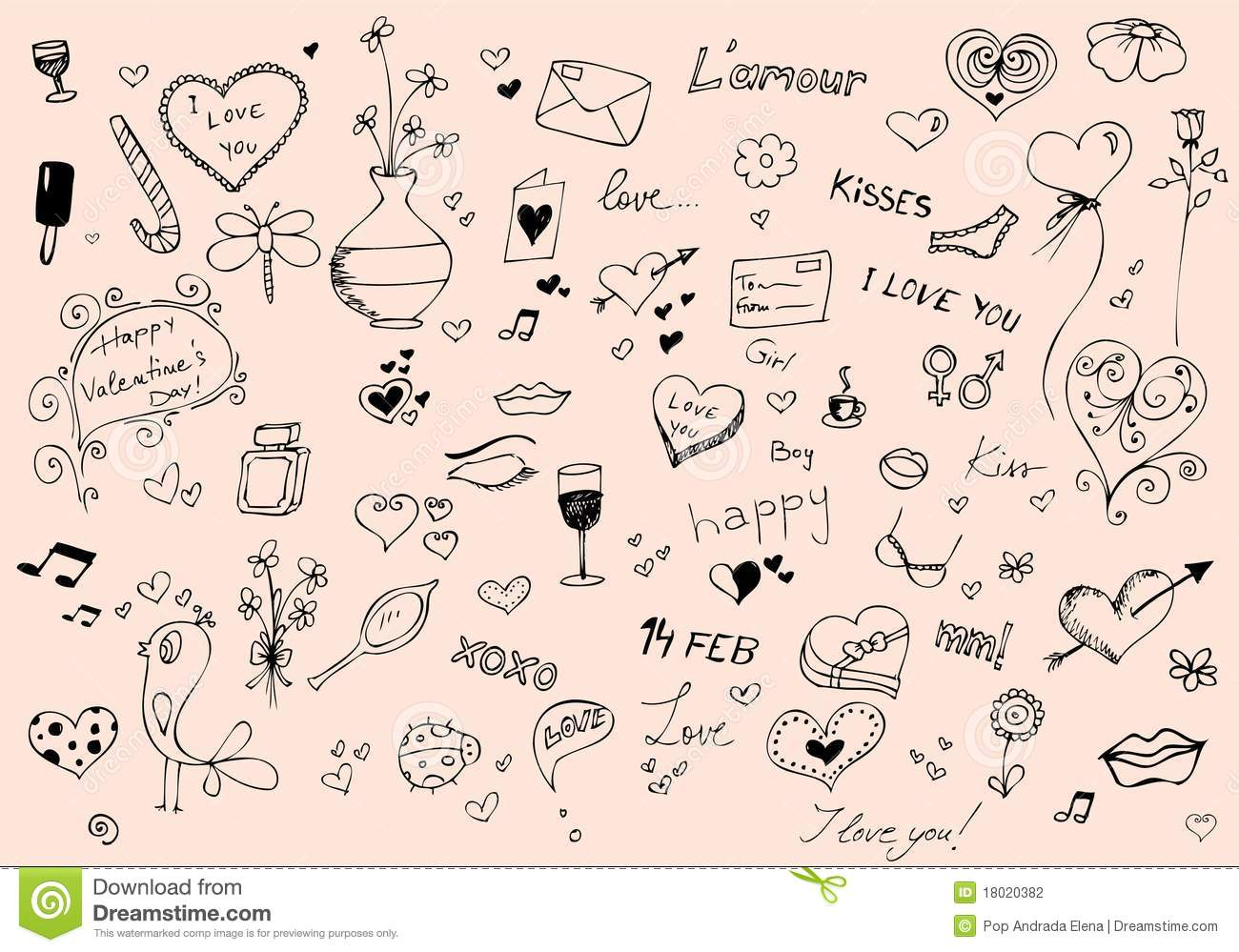 Valentines Day Doodle Set Stock Photography Image 18020382