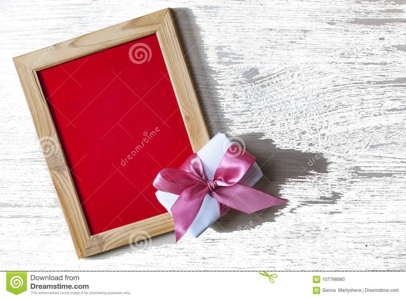 Valentine S Day Empty Frame For Text And Gift Box With A Pink Bow
