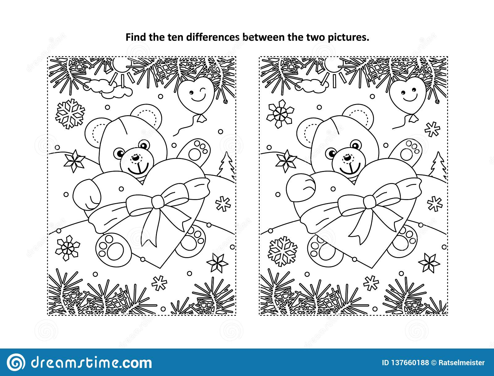 Valentines day find the differences visual puzzle and coloring page