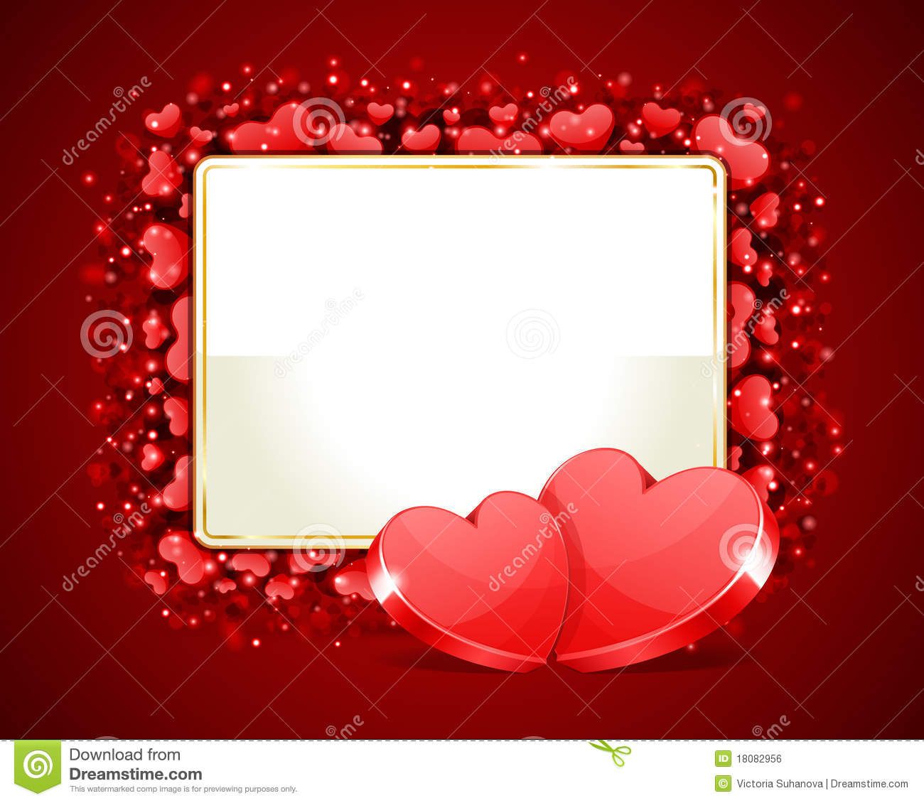 Valentine\'s Day Frame With Two H Stock Illustration - Illustration ...