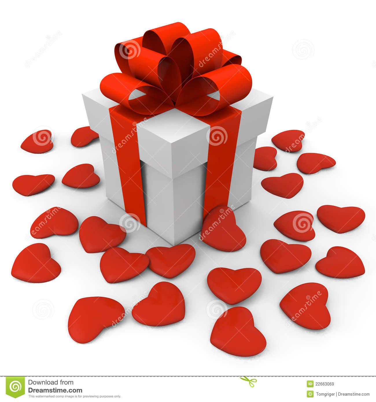Valentines Day Gift Box With Small Hearts Royalty Free