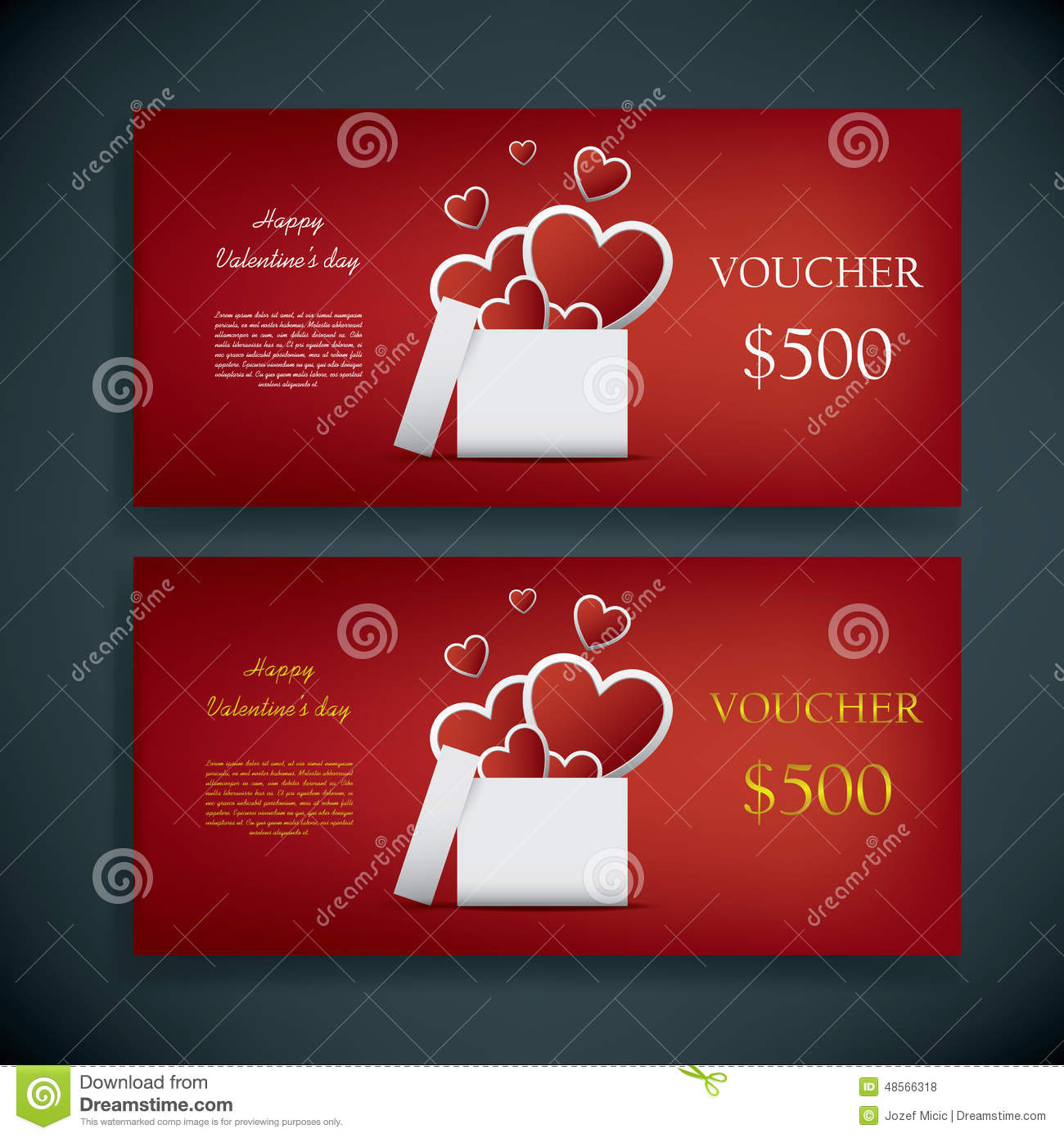 Valentine S Day Gift Card Voucher Template With Stock Vector