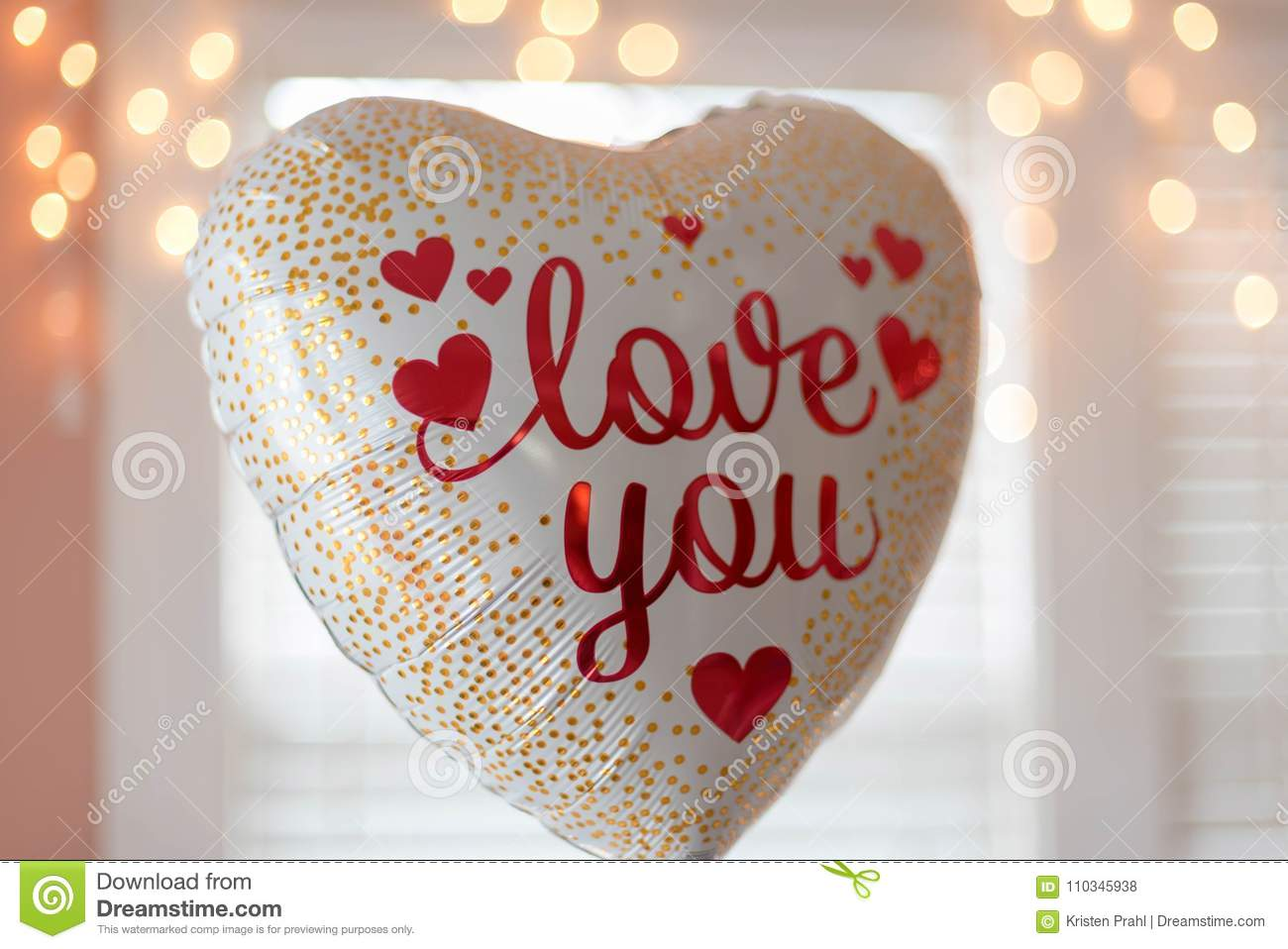 Download Heart Shaped Balloon With The Words Love You Stock Photo Image Of