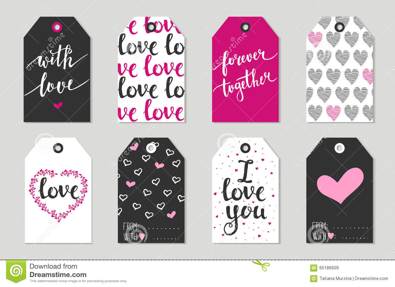 Valentine S Day Gift Tags Set Stickers And Labels Stock Vector