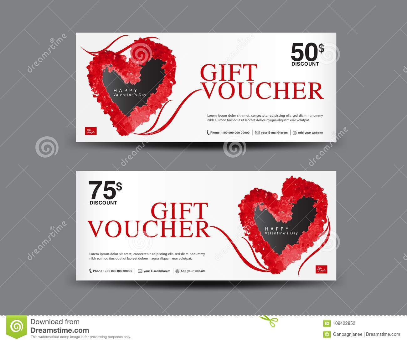 Valentine`s Day Gift Voucher template layout, business flyer design, certificate, coupon