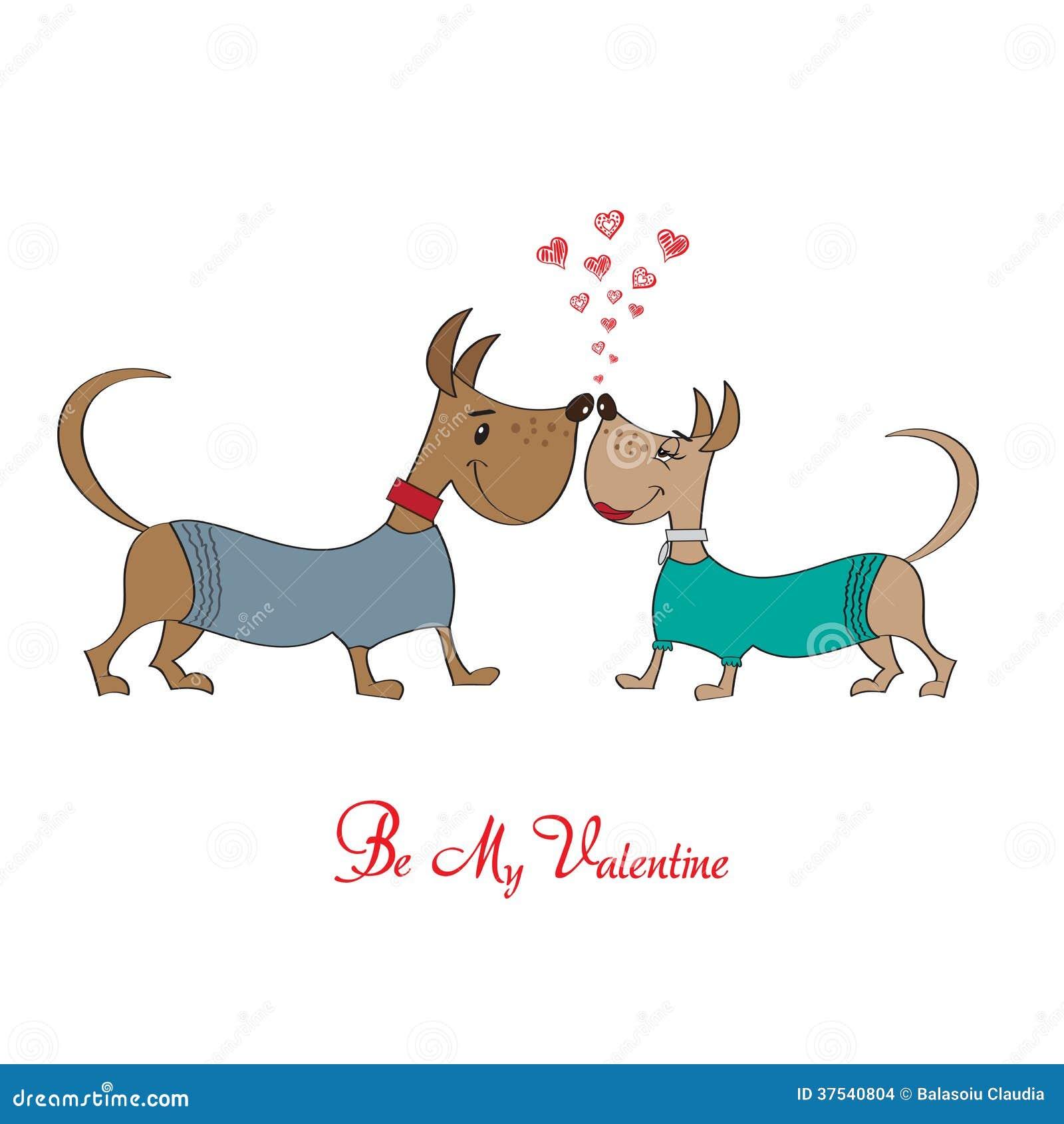 Valentine s day greeting card with cartoon dog characters stock valentine s day greeting card with cartoon dog characters kristyandbryce Gallery
