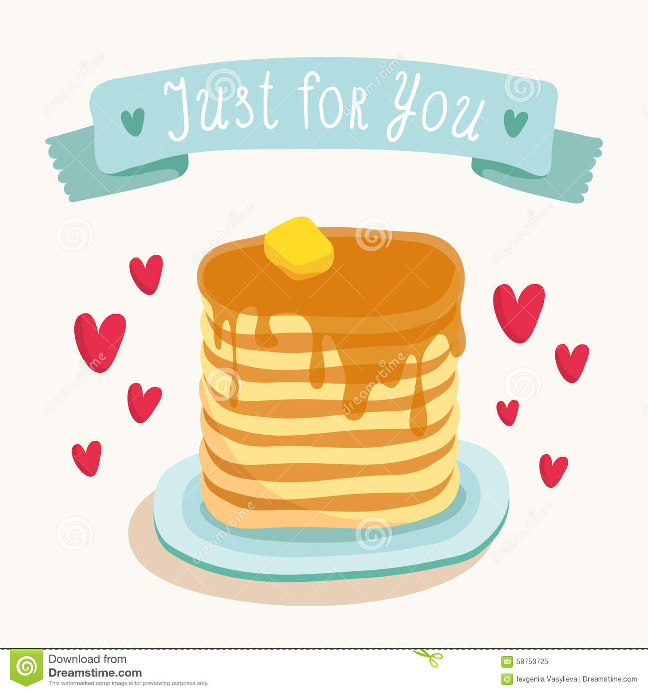 Valentines Day Greeting Card Design With Romantic Breakfast – Huge Valentines Card