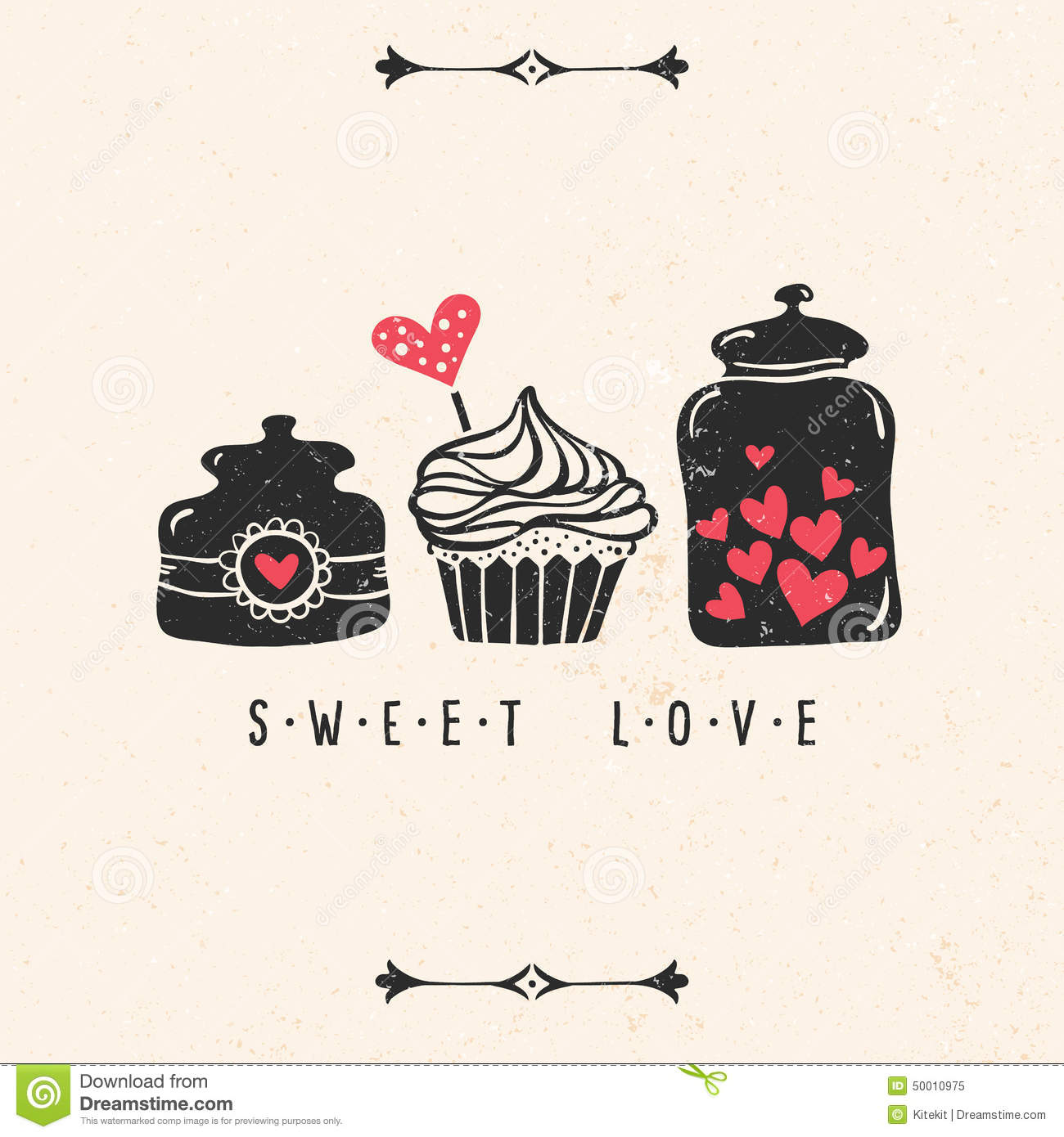 Valentines Day Greeting Card With Heart Cupcake Jar – Cupcake Valentine Card
