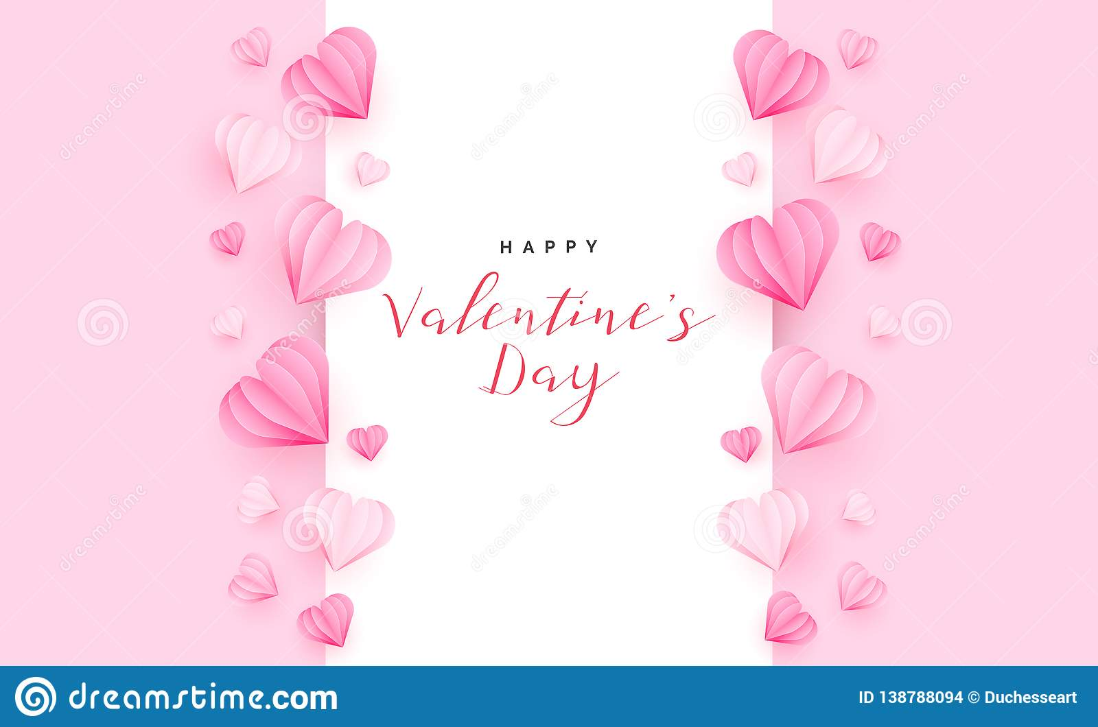 Valentine S Day Greeting Card With Hearts Paper Cut Style