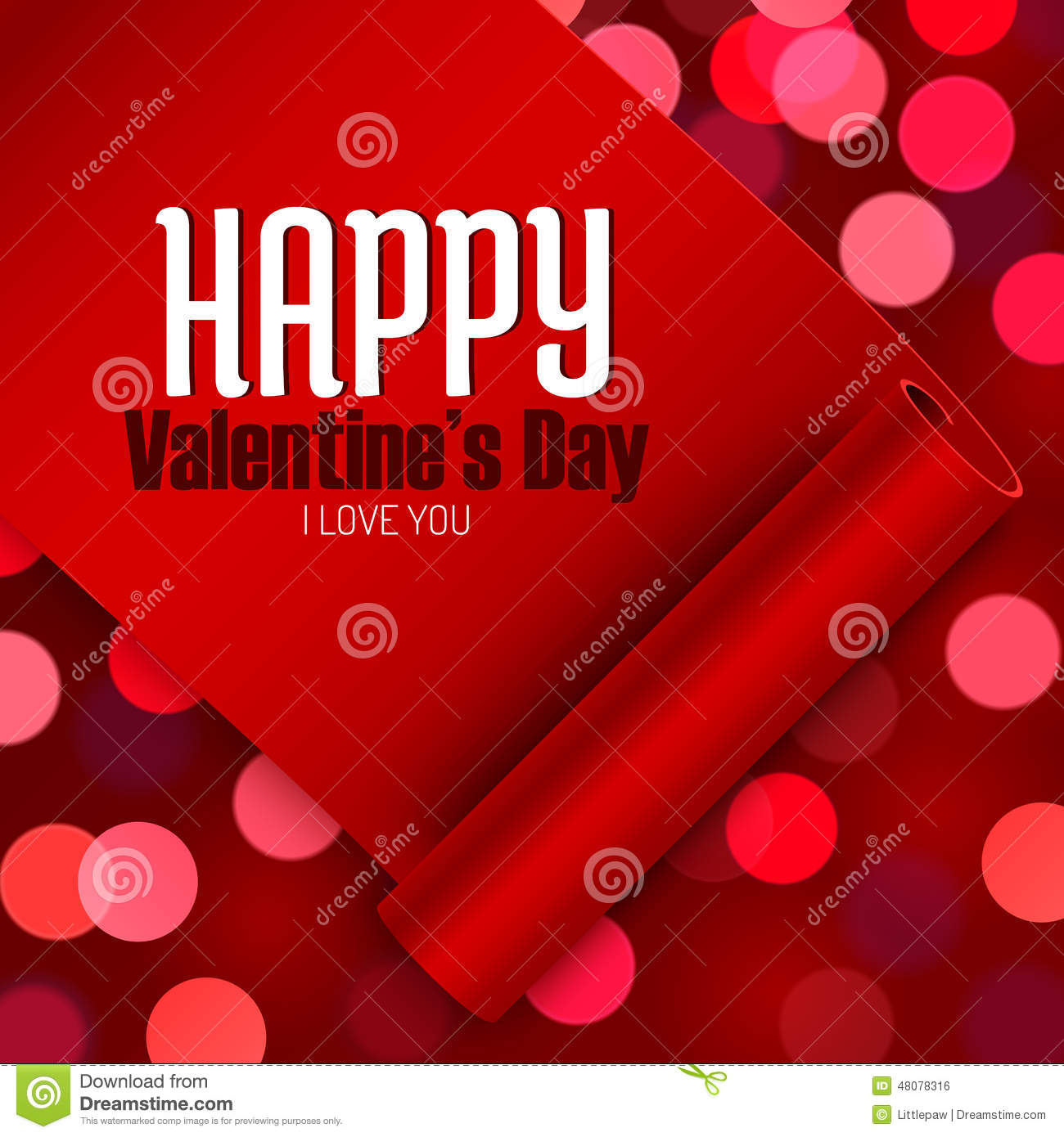 Valentines Day Greeting Card Love Message On Red Ribbon Boken