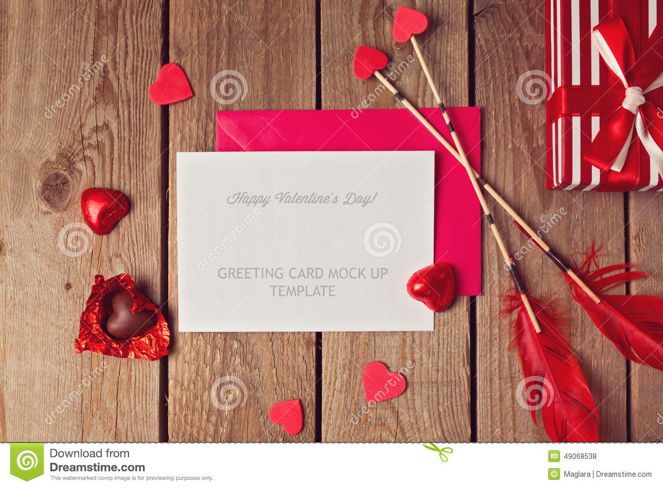 Valentines Day Greeting Card Mock Up Photo Image 49068538 – Greeting Cards of Valentine Day