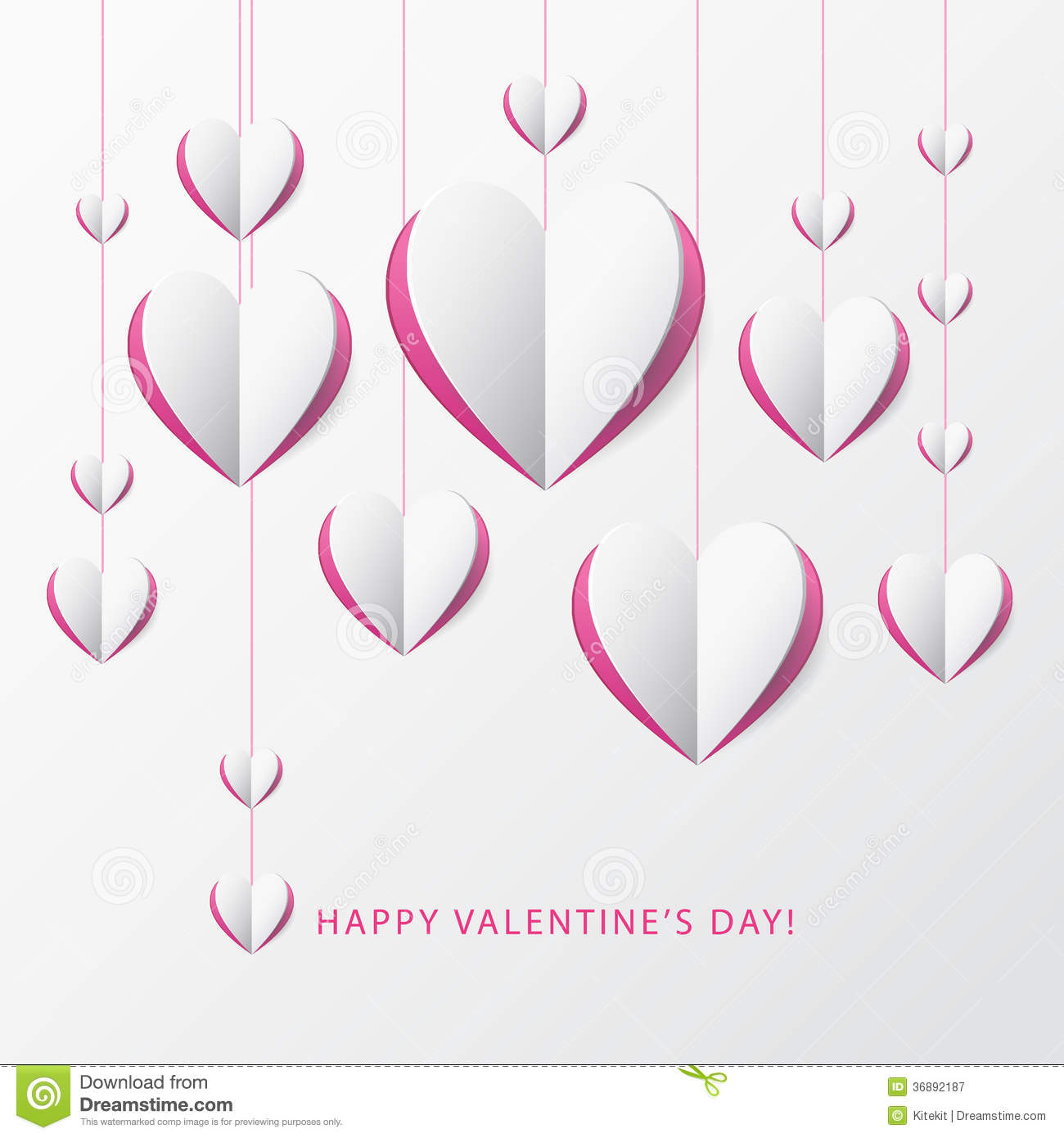 Valentine's Day Greeting Card With Paper Heart. Template ...