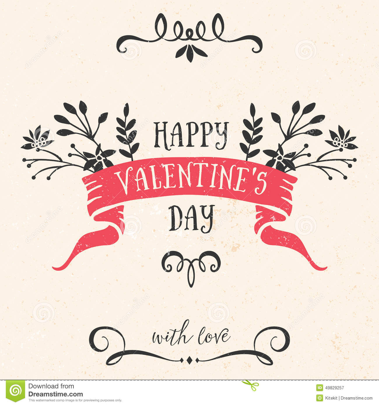 Valentine S Day Greeting Card With Ribbon Lettering Stock Vector