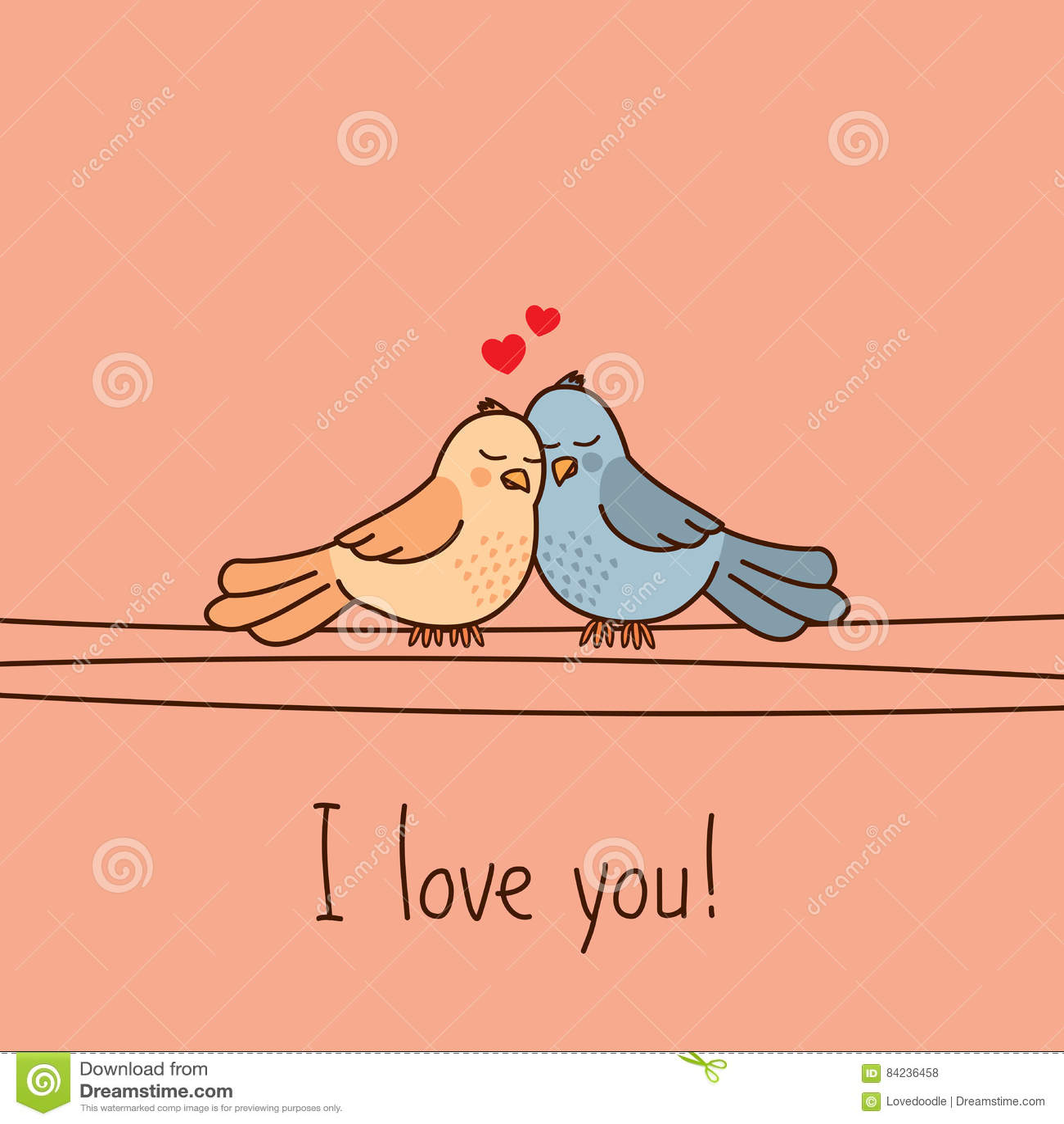 Valentines Day Greeting Card With Two Cute Cartoon Love Birds – Bird Valentine Card