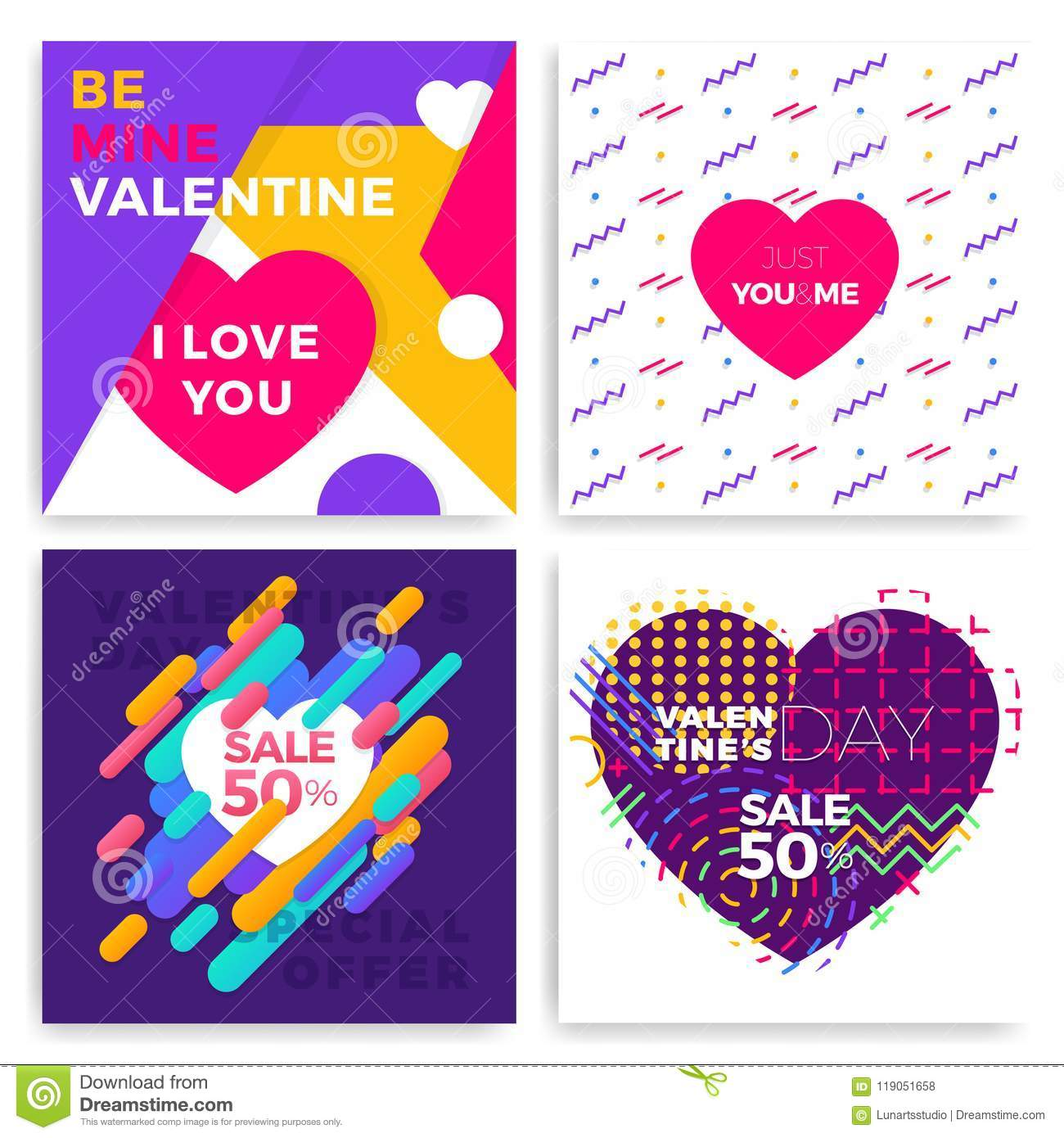 Valentines Day Greeting Cards Set In Trendy Memphis Style With