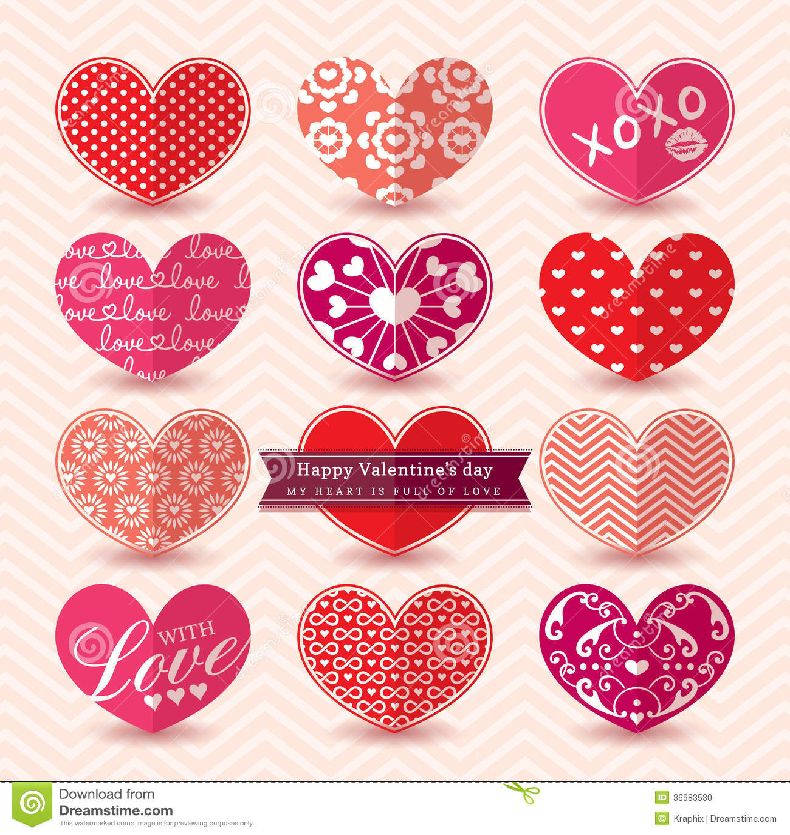 Valentine s day Heart Elements pattern