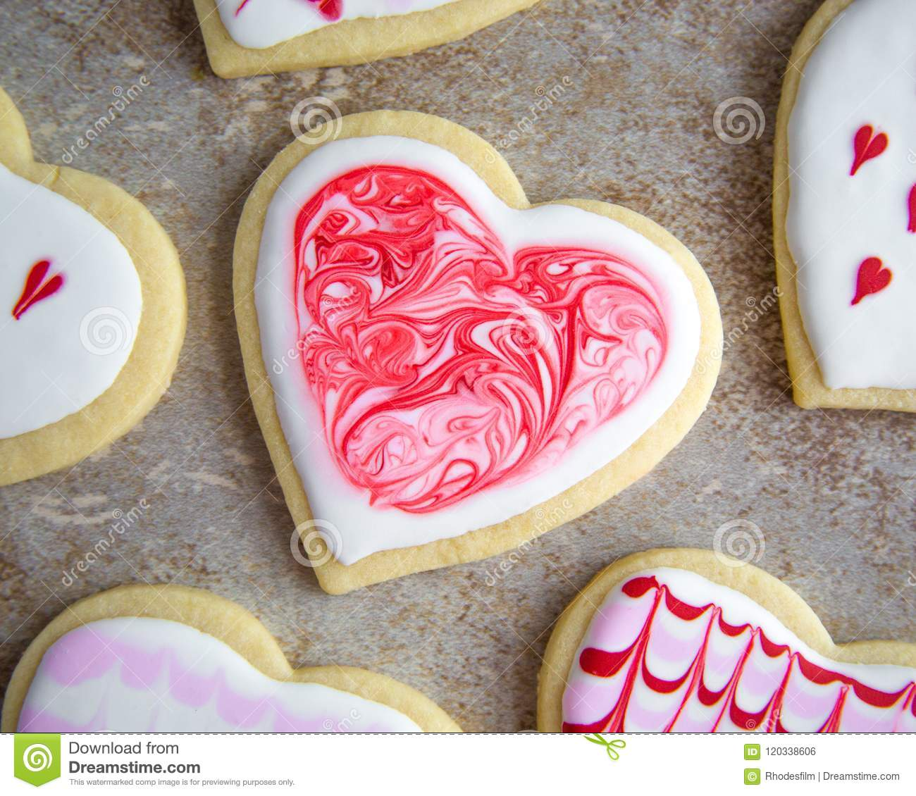 Valentine S Heart Sugar Cookies With Royal Icing Marble Design Stock