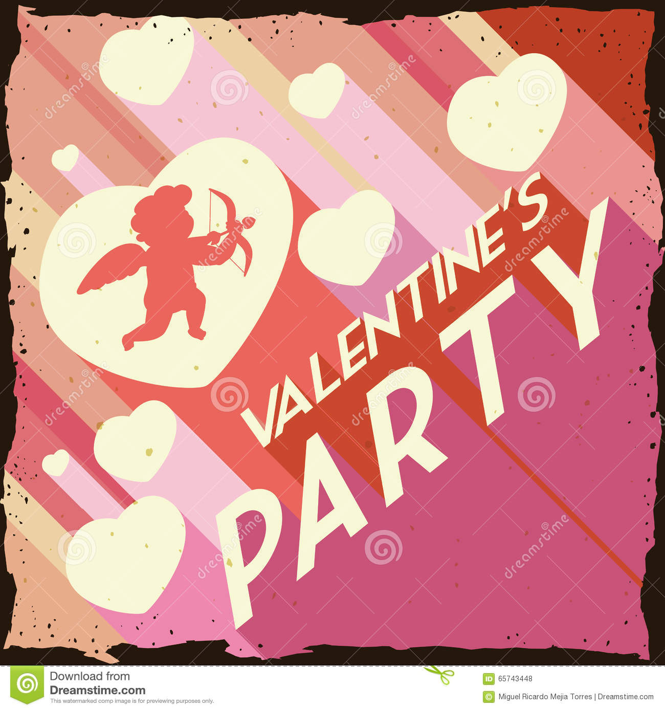 Valentine S Day With Hearts And Cupid In Retro Party Poster, Vector  Illustration