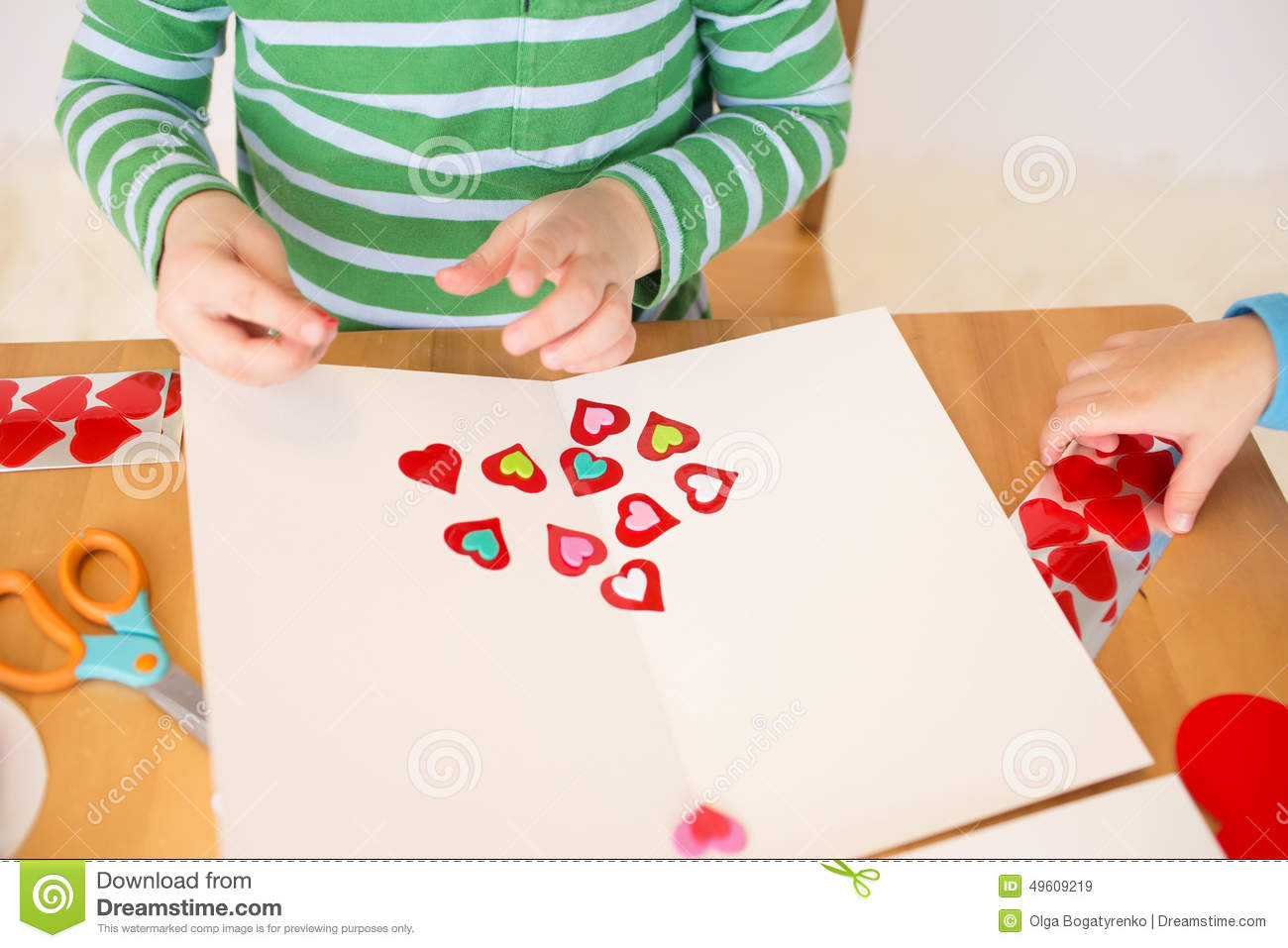 Valentines arts and crafts - Valentine S Day Hearts Kids Arts And Crafts Stock Photo